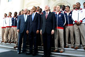 US men's national soccer team meeting President Obama, Biden and Clinton at the White House today