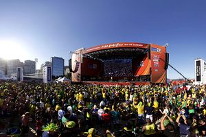Brazil fans at Copacabana beach