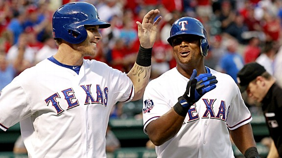 Josh Hamilton, left, and Adrian Beltr