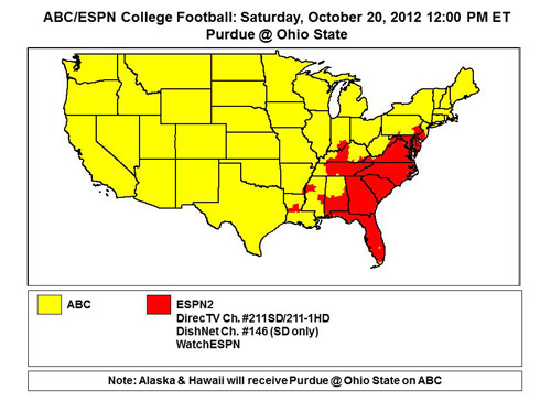 Week 8 schedule for 2012 Dishnet Availability Map on
