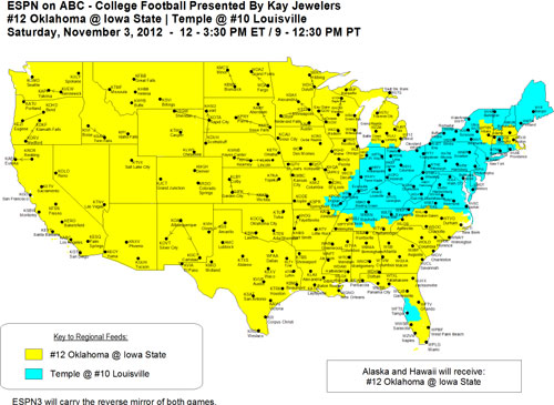 Week 10 schedule for 2012 Direct Tv Coverage Map on