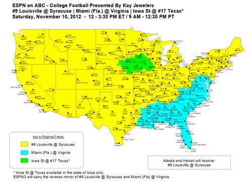 Week 11 schedule for 2012 Dish Network Coverage Map on
