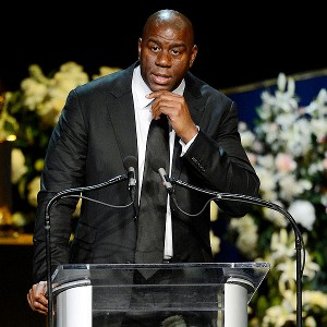 Earvin 'Magic' Johnson speaks during a memorial service for Los Angeles Lakers owner Dr. Jerry Buss at the Nokia Theatre L.A. Live in Los Angeles.
