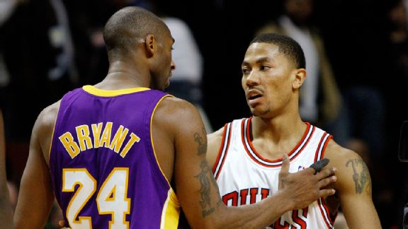 Kobe Bryant and Chicago Bulls' Derrick Rose