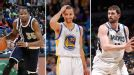 Kevin Durant, Stephen Curry, Kevin Love