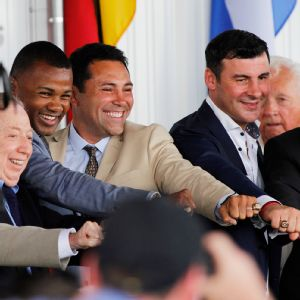 Graham Houston, Neil Leifer, Felix Trinidad, Oscar De La Hoya, Joe Calzaghe, and Richard Steele