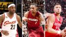 LeBron James, Chris Bosh and Chandler Parsons
