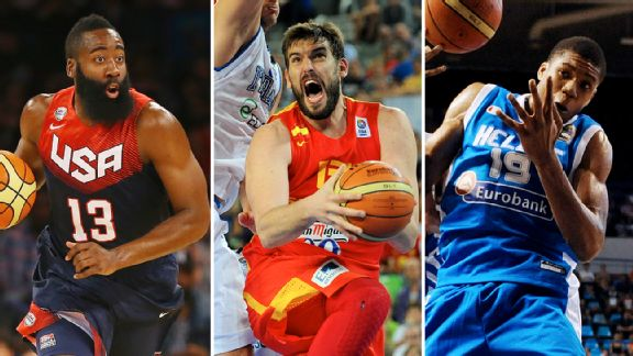 James Harden, Marc Gasol and Giannis Antetokounmpo