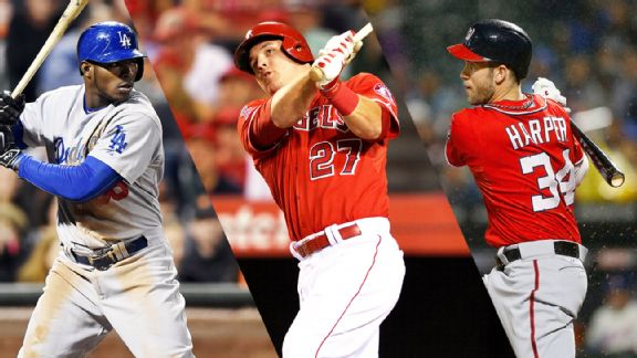 Yasiel Puig, Mike Trout, Bryce Harper