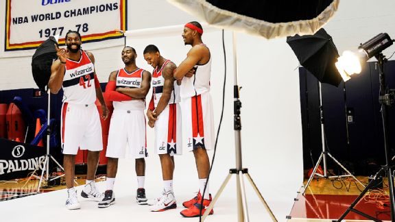 Nene Hilario, John Wall, Bradley Beal, Paul Pierce