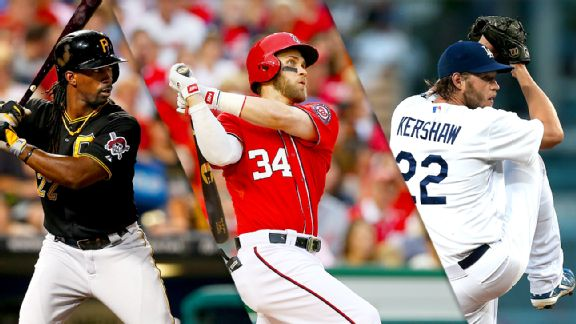 Andrew McCutchen, Bryce Harper and Clayton Kershaw