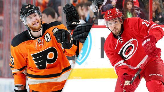Jakub Voracek (Flyers) and Justin Faulk