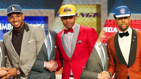Karl-Anthony Towns, D'Angelo Russell and Jahlil Okafor