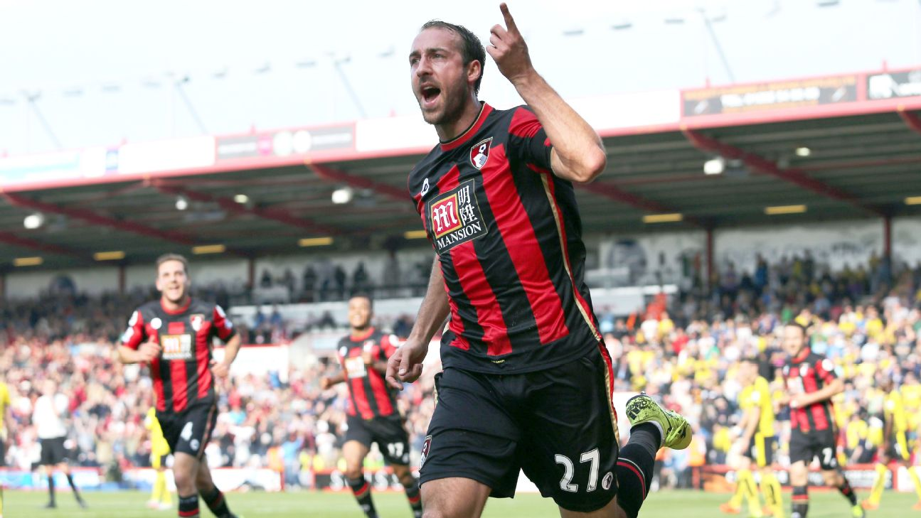 Glenn Murray of Bournemouth celebrates scoring the opening goal during the Barclays Premier League match between AFC Bournemouth and Watford played at The Vitality Stadium, Bournemouth 2015