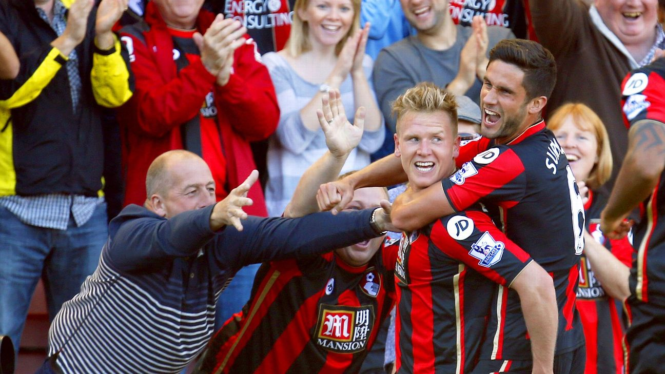 AFC Bournemouth's Matt Ritchie celebrates scoring the second goal during the Barclays Premier League match between Bournemouth and Sunderland played at The Vitality Stadium, Bournemouth, on September 19th 2015