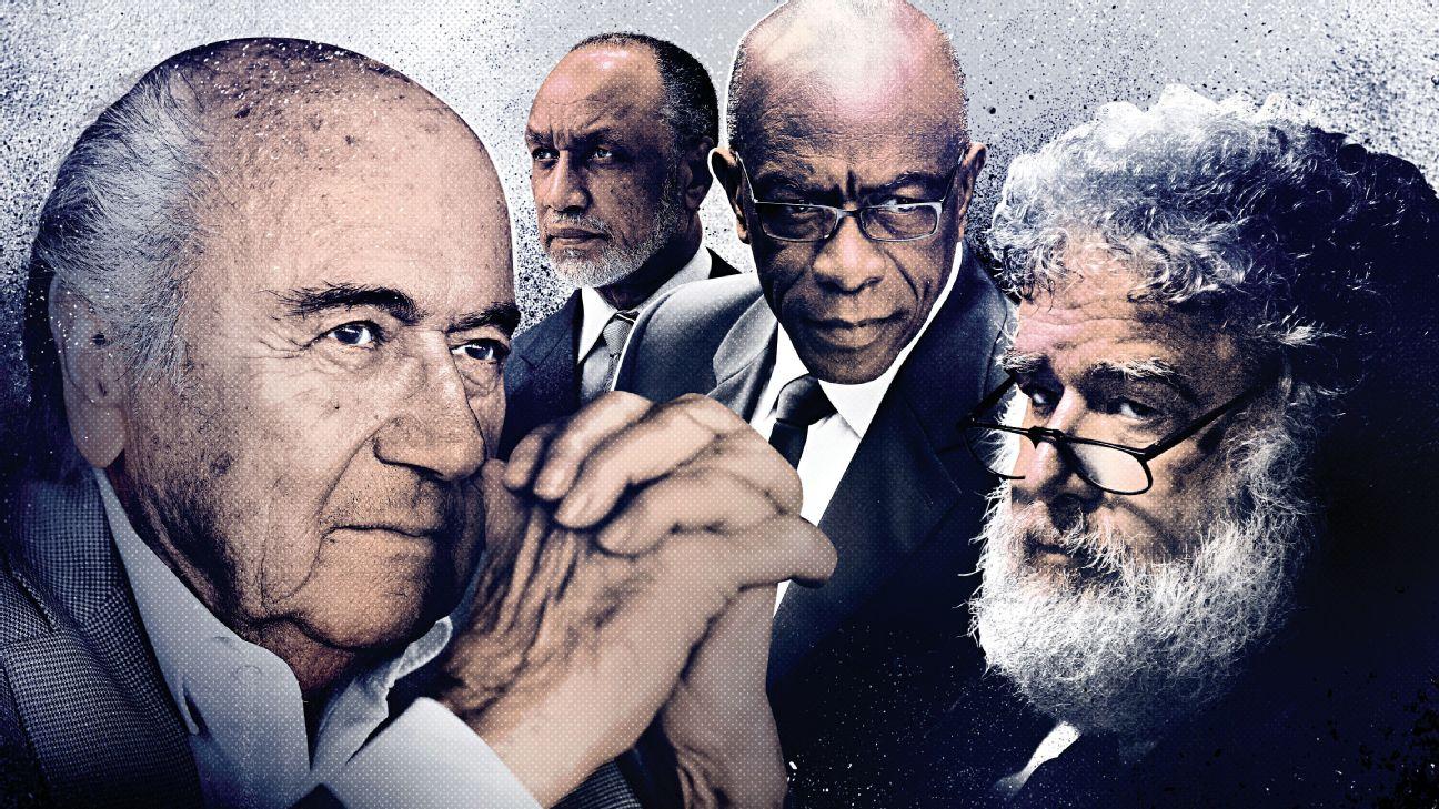 From left: Sepp Bladder; Mohammed bin Hammam; Jack Warner; Chuck Blazer
