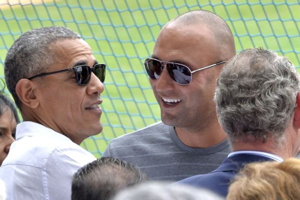 Derek Jeter and U.S. President Barack Obama