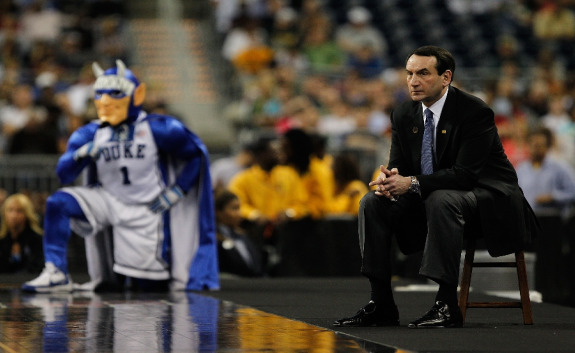 Coach K on the sideline stool