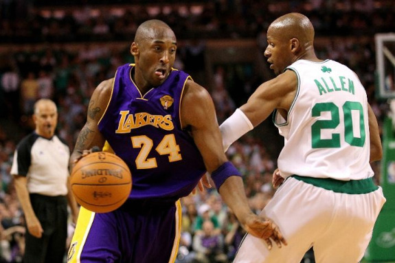 Kobe Bryant Drives Past Ray Allen