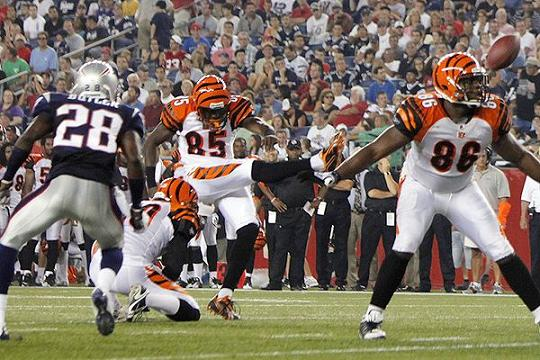 Ochocinco Kicks Extra Point vs Patriots